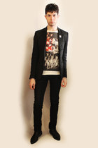 black Zara shoes - dark gray Zara blazer - black Zara pants - cream Zara t-shirt