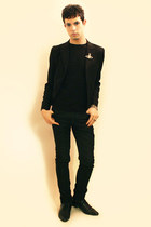 black Zara shoes - black Npfeel blazer - black Zara t-shirt - black Zara pants -