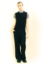 gray Comme des Garcons shirt - black vest - black Misty Boy Harajuku pants - bla