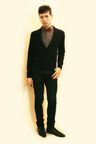 black Zara shoes - black Sisley sweater - charcoal gray H&M shirt - black Zara p
