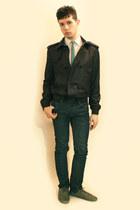 heather gray Zara shoes - blue Zara jeans - gray Zara jacket - white Misaky shir