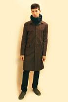 heather gray Zara shoes - charcoal gray H&M coat - navy Zara jeans - blue Enrico