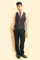 heather gray Zara shoes - white Misaky shirt - charcoal gray Zara pants - sky bl