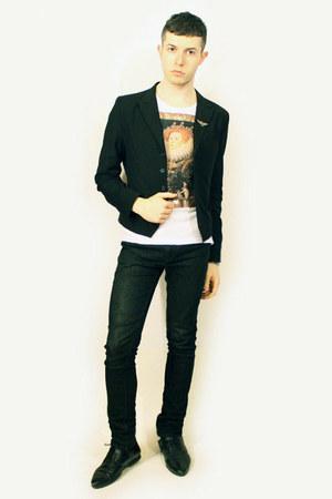 black Zara shoes - black Npfeel blazer - black Zara pants - white Vivienne Westw