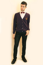 white Zara shirt - red vintage tie - purple Sisley cardigan - black Zara pants -