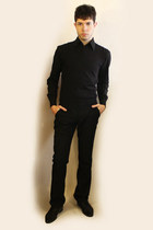 black Zara shoes - black Misaky shirt - black Sisley pants - black vest