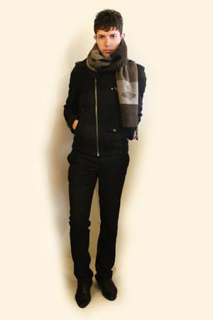 black Zara shoes - dark gray Zara jacket - beige vivienne westwood scarf - black