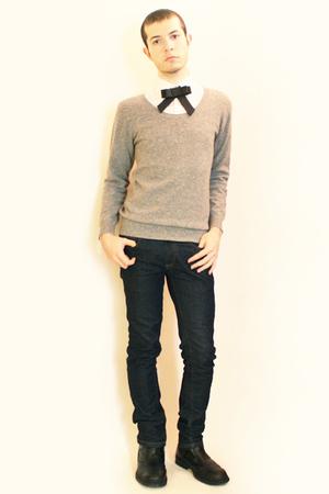 Zara shirt - Npfeel sweater - Zara jeans - HandamadeEtsy tie