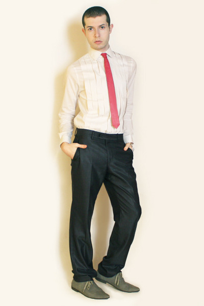 white H&M shirt - purple vintage tie - gray Zara pants - gray H&M shoes