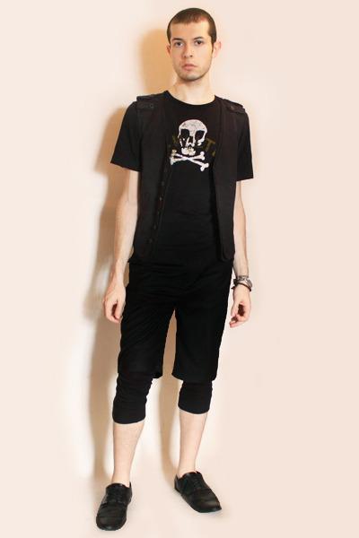 black vivienne westwood t-shirt - gray Zara vest - black Deepstyle shorts - blac