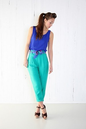 teal YO VINTAGE pants - royal blue YO VINTAGE top