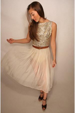 nude sheer glitter YO VINTAGE dress