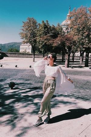 white Aldo shoes - bubble gum New Yorker sunglasses - turquoise blue Zara pants
