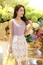 Diamond Collar Lace Skirt Sleeveless Dress YRB0505