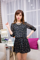 Long sleeve chiffon dots summer dress ghl2134