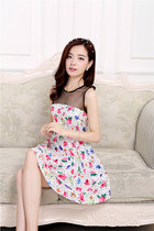 YRBfashion Korean style sweet star mesh net gauze floral print dress ghl2191