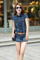 Sets two ways detachable denim dress shirt skirt ghl2173