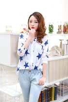 Star print loose fit boyfriend long-sleeved cotton blouse shirt ghl2178