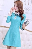 Mini A-line Dress with Long Sleeves and Free Diamond Necklace Gift YRB0616