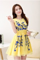 Blue Flower Print Organza Dress Chiffon YRB0482