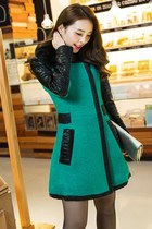 PU Leather Sleeves Cashmere Korean Coat YRB0373