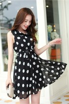 Polka Dot Printed Chiffon Dress YRB0476