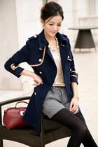 Asian Elegant Trench Navy Blue Coat YRB0360