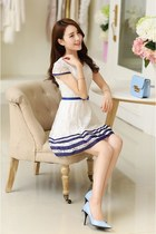Stripe Skirt Short Sleeve Lace Dress YRB0479