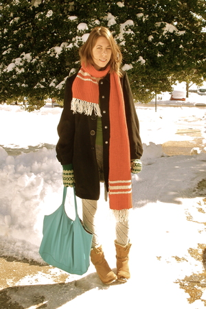 red made by grandma scarf - black Forever 21 coat - beige Walmart boots