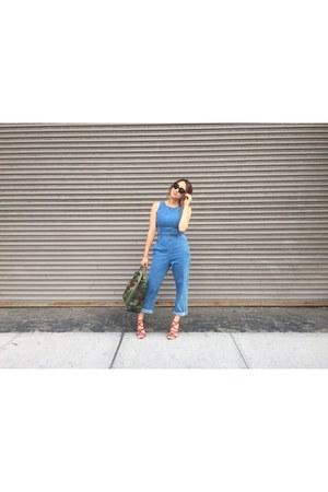 green camo purse LL Bean bag - brick red strappy heels Zara heels