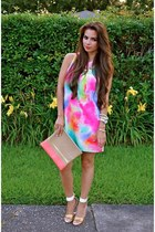 hot pink dress Nasty Gal dress - salmon clutch Madly-yours purse