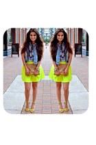 yellow neon skirt Tobi skirt - tan Madly-yours purse