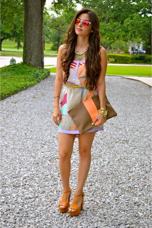 bubble gum printed dress Naaz Boutique dress - camel Jeffrey Campbell shoes