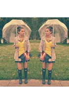 navy Hunter boots - yellow neon sweater Zara shirt - ruby red Madly-yours purse