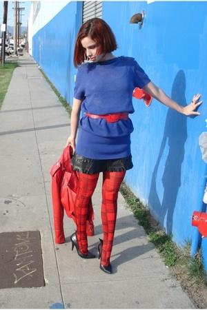 McQ top - Forever21 tights - BCBG skirt - Forever21 belt