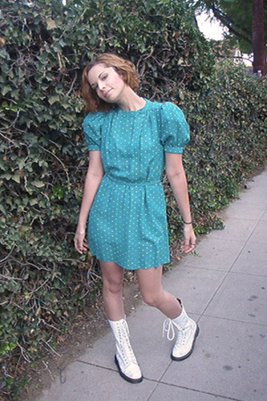 white doc martens boots - vintage dress