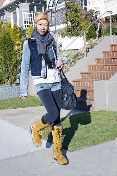Timberland boots - Levis jacket - vivienne westwood scarf