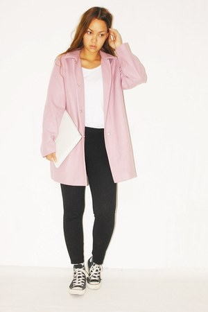 pink asoscom coat - DIY bag - Zara pants - H&M t-shirt