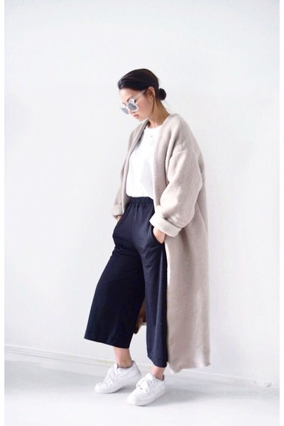 tan DIY coat - white nike shoes - black H&M pants