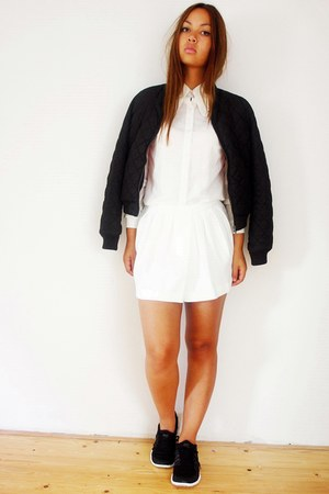 H&M jacket - romwe shirt - Mango shorts - nike sneakers