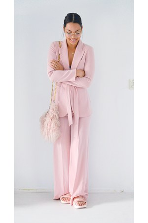 light pink shoes - light pink blazer - light pink River Island bag