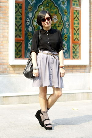 black chapel shirt - brown Mango belt - gray skirt - black Mango bag - gray Paul