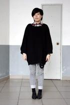 black Wonder Woman sweater - red shirt - gray Urban Renewal jeans - black shoes