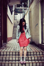 Red-polka-dots-chapel-dress-navy-striped-mango-jacket