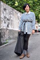 gray blazer - blue FIRST MING shirt - white chapel shirt - black Mango belt - gr