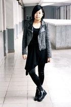 dark gray jacket - black dress - black la minette leggings - black puzzle boots