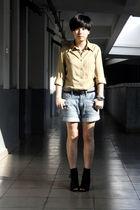 beige River Island shirt - black belt - blue Uniqlo shorts - black Katie Judith