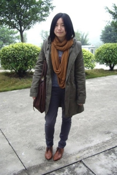 H&M scarf - 50cent t-shirt -  coat - pants - NANING9 shoes -