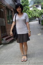 t-shirt - skirt - H&M bracelet - H&M shoes