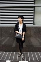 OFIER coat - t-shirt - prezzo purse - H&M bracelet - leggings - puzzle shoes